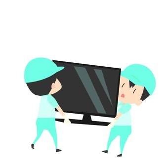 Moving - a worker carrying a television