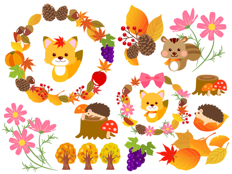 Autumn animals and fruits