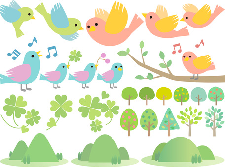 70421, four leaves, small bird, tree 4