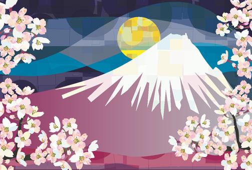 벚꽃 만개 후지산