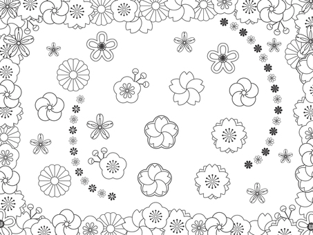 Japanese pattern flowers _ black and white