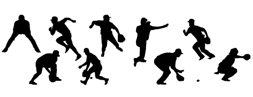 Baseball player silhouette set to defend