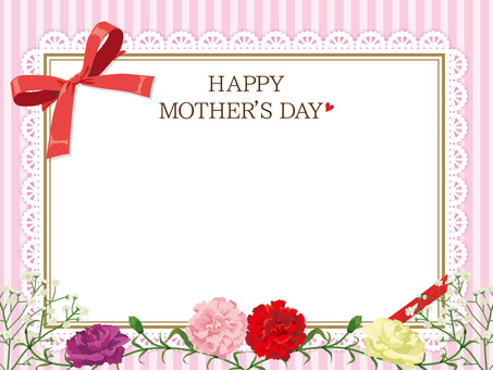 Mother's Day Carnation's Wreath Card Pink 1