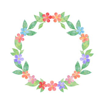 Flowers and leaves _ Round frame