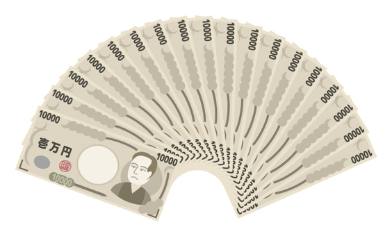 Money / fan shape spread out like a fan