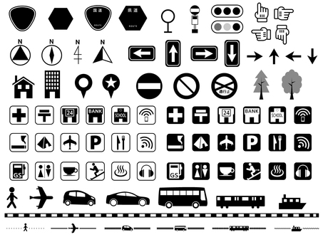 Black and white map icon set