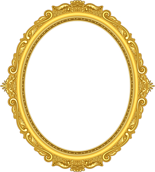 Picture frame luxury ellipse oval gold