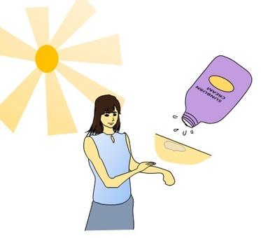Woman applying sunblock cream