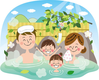 Summer fresh green rock bath family health spa Smile with background