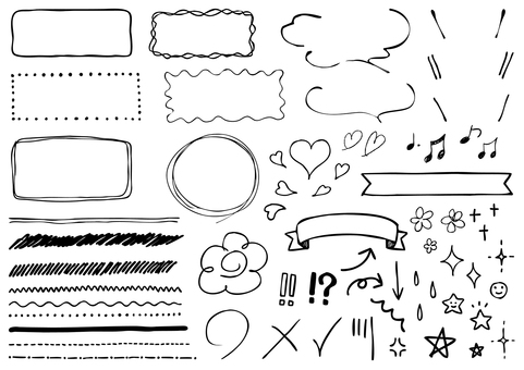 Handwritten frame line icon set