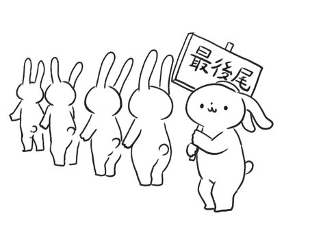 [B / W] Rabbits in a line [Line art]