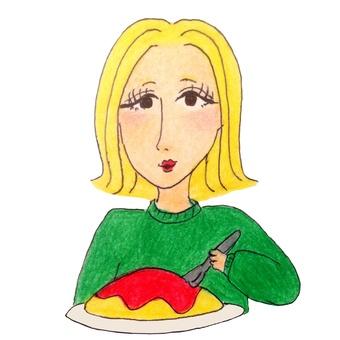 Gal eating omelet for lunch