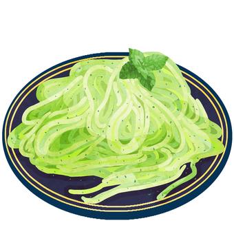 スパゲティ (ジェノベーゼ) ② 水彩