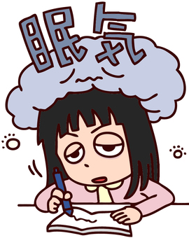 Illustration of a girl that is likely to be crushed by sleepiness