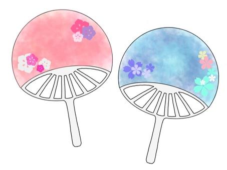 Watercolor style floral fan set