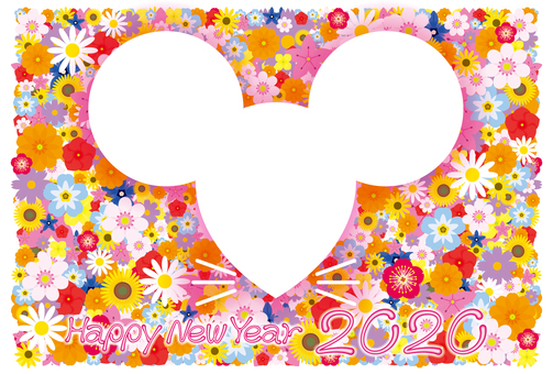 2020 New Year's card flowers and mice