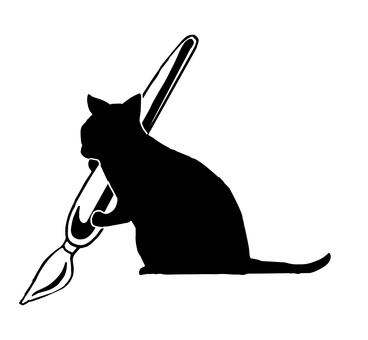 Writing with a cat silhouette pen