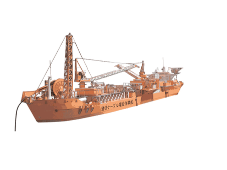 Communication cable buried ship