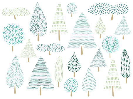 Illustration of various trees 01