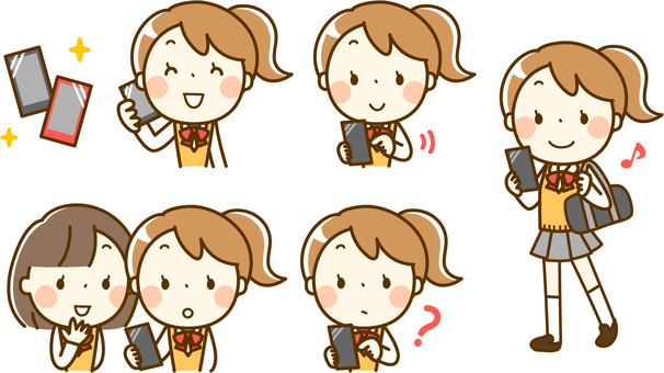 Female student and smartphone ___ various sets