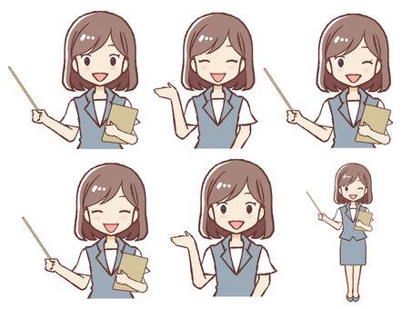 Cute female guide facial expression set
