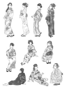 Yukata beauty (for monochrome)