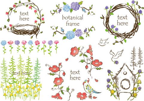 手描きフレーム 花 鳥 木