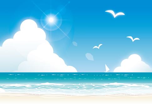 仲夏海太阳和水平线2