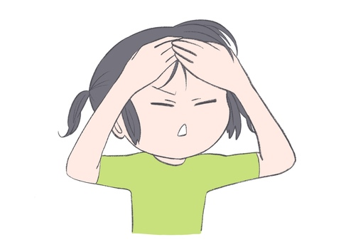 Illustration of a girl with a headache