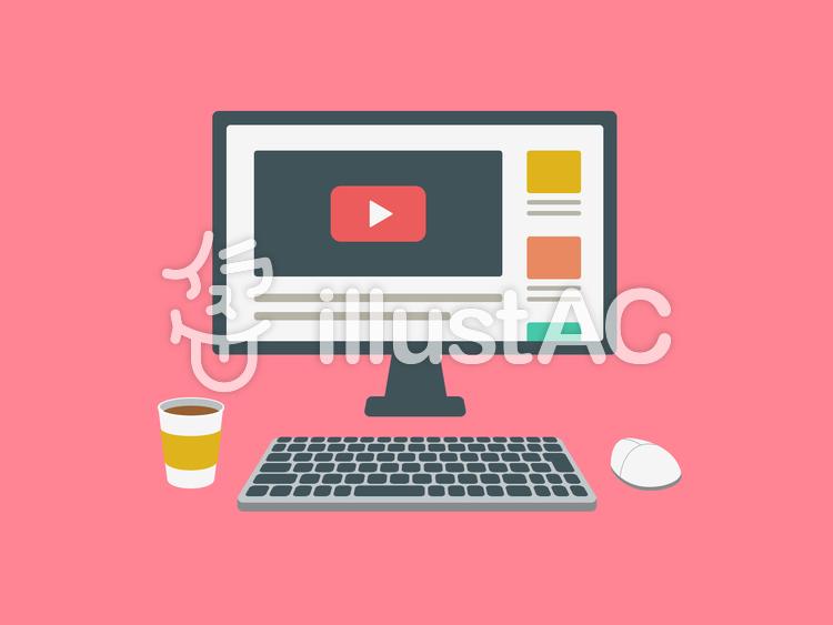 デスクトップパソコン 動画 画面のイラスト