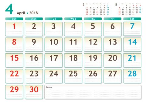 2018年カレンダー 4月