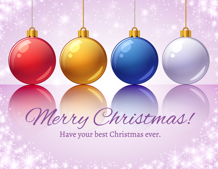 Sparkling purple background and Christmas ornaments