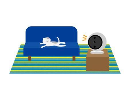 Illustration of cat and surveillance camera