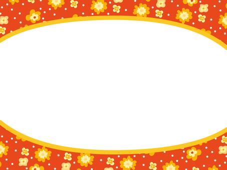 Retro floral frame orange