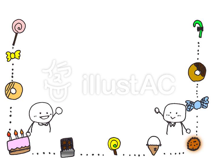 手書きフレーム お菓子①イラスト No 621389無料イラストなら