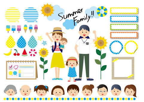 Summer family illustration icon set