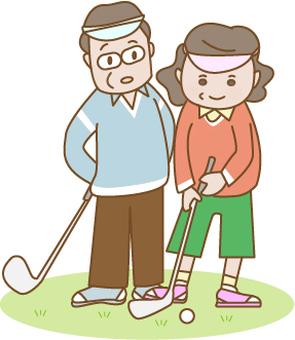 골프를하는 부부