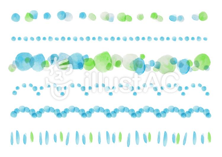 水彩パス素材004 ラインセットのイラスト
