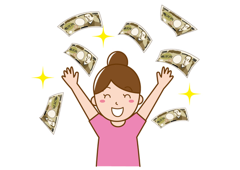 Woman who rejoices with a lot of money