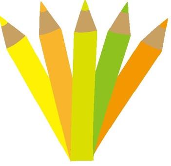 노란색 연필 노란색 라인