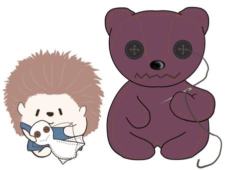 Hedgehog and stuffed bear ①
