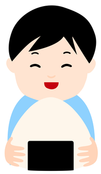 Smiling boy with onigiri
