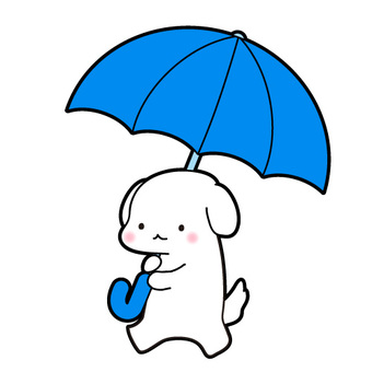 Blue umbrella dog illustration