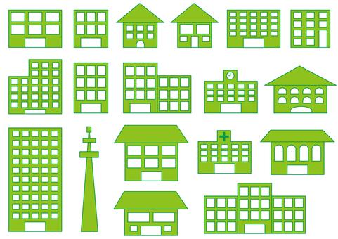 Various buildings, green