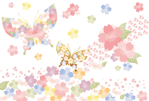 Japanese pattern of cherry blossoms and butterflies