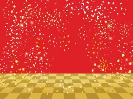 市松舞台紅色/五彩紙屑