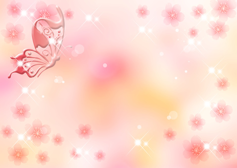 Sakura _ Butterfly _ Pink background