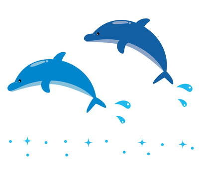 Two dolphin jumping 2
