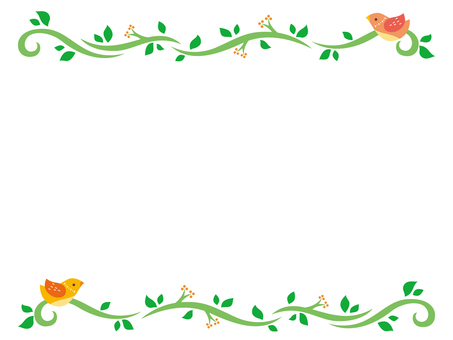 Frame of little bird and ivy