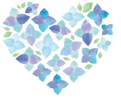 Watercolor hydrangea 9 heart